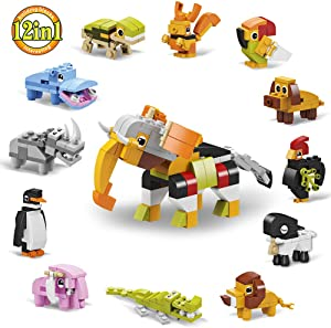 Mesgyno Mini Building Blocks Animals, 12 in 1 Assorted Toy Animal, Stem Building Toy, Party Favor for Kids, Goodie Bags, Birthday, Carnival Prizes,Set of 12