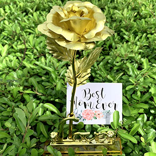 24K Gold Rose Artificial Flower with Love Stand Greeting Card in Box,Gift Present Idea for Her for Mother's Day,Anniversary,Wedding Ceremony,Birthday(Gold)