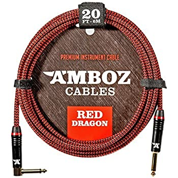 Red Dragon Instrument Cable - Noiseless for Electric Guitar and Bass - 20 Foot TS 1/4Inch Angled PL
