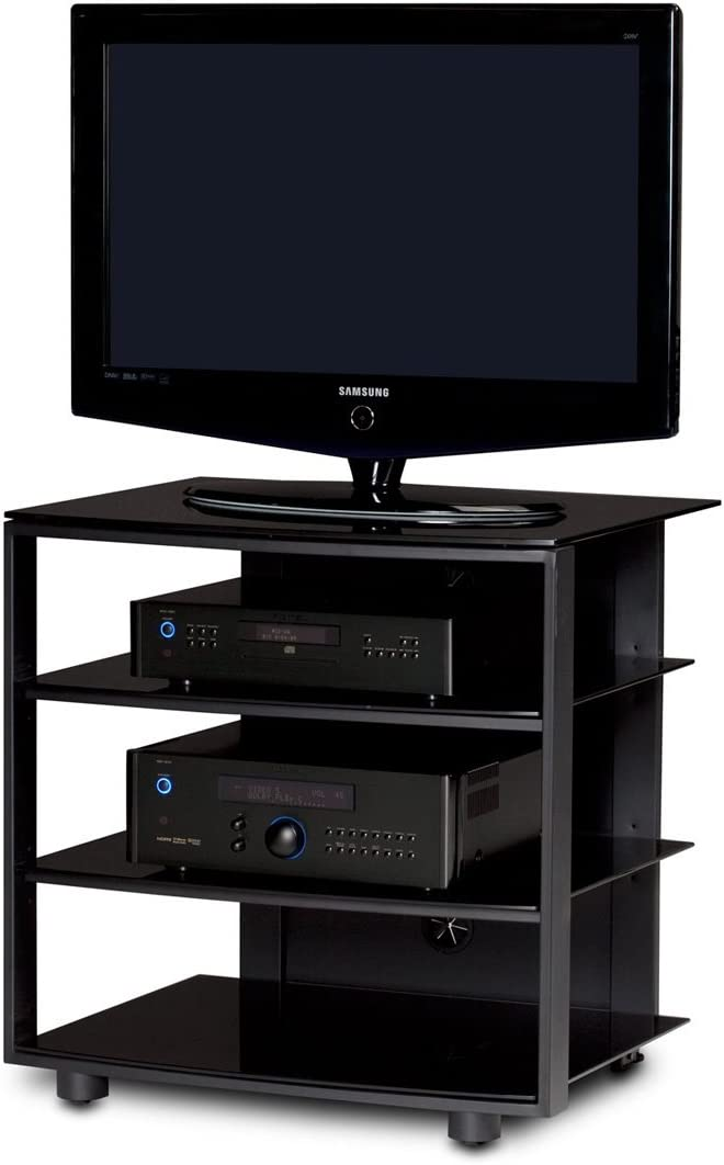 BDI Vexa 9221 Single Wide 4 Shelf TV Stand (Black with Black Shelves) (Discontinued by Manufacturer)
