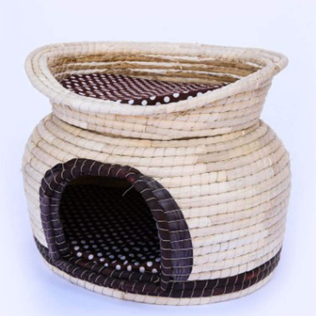 Large MiaoMiao Double-layer pet nest pet bed Simple and beautiful breathable pet nest Home pet nest hand-woven (Size   L)