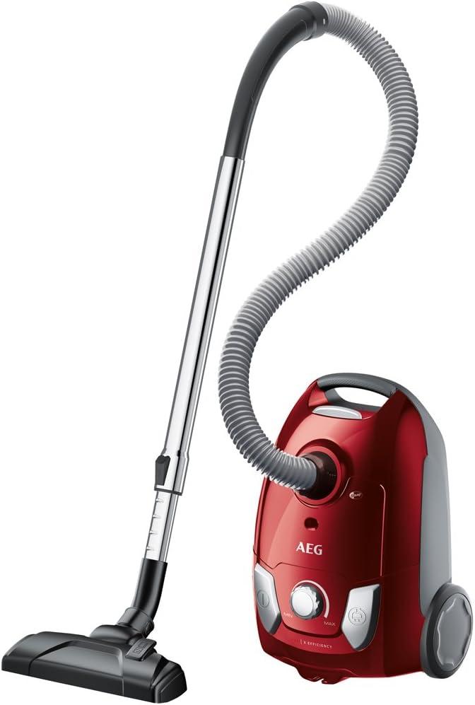 AEG VX4-1-WR-A Aspiradora con Bolsa, 750 W, 3 kg, 80 Decibelios, Polietileno expandido, Rojo