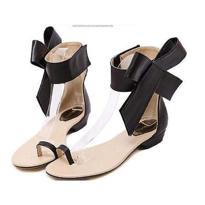 0a07bcd84 FidgetGear New Big Bow Women s Flat Flip Flops Fashion Summer Sandals Shoes  Plus Size Black EUR37