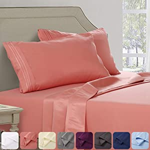 Abakan King Bed Sheet Set Extra Soft 1800 Thread Count Silky Smooth Microfiber Hotel Luxurious Premium Cooling Sheet Breathable, Wrinkle, Fade Resistant Deep Pocket - 4 Piece (King, Coral)