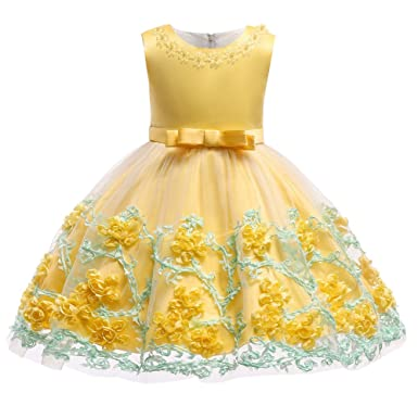 979f49bc7b9f OwlFay Infant Toddler Baby Girls Sleeveless Lace 3D Flower Mesh Tulle  Princess Bowknot Dress Little Girl