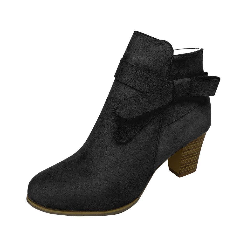 Zolimx Botines Mujer Tacon Ancho Ante Cuero Tobillo Botas Piel Ankle Boots Cremallera Moda Comodos Tacones con Cremallera Redonda Botas Vintage Mujer