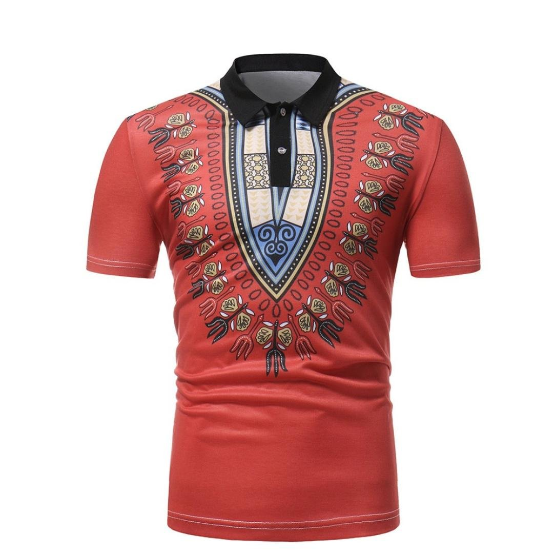 a5d35862b02 Men African Print T-Shirt Familizo Men s African Print Button Turn-Down  Collar Short Sleeve Slim Fit Muscle Tops Fashion Pullover Fashion Summer  Casual ...