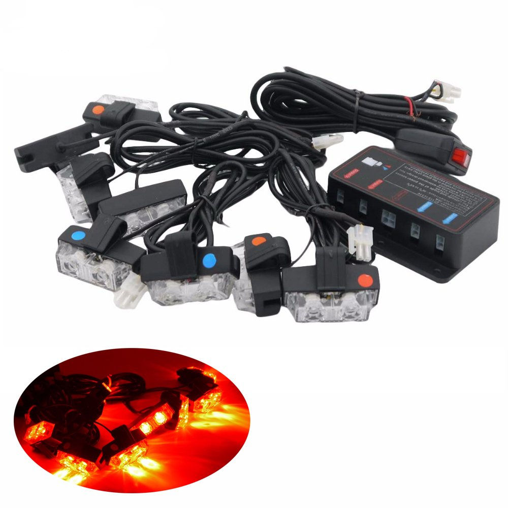 HEHEMM 16 Car LED Flash Emergency Strobe Car Grill Light Ultra Bright with Controller Amber