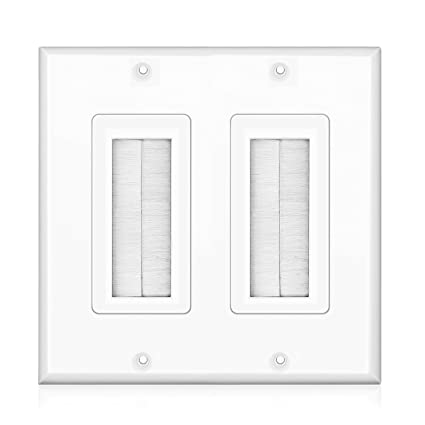 Admirable Amazon Com Tnp Brush Wall Plate Double 2 Gang Cable Entry Access Wiring Digital Resources Nekoutcompassionincorg