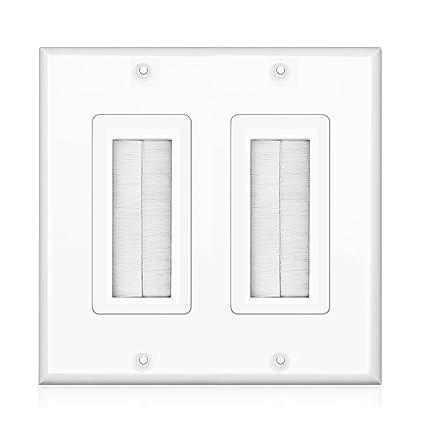 Sensational Amazon Com Tnp Brush Wall Plate Double 2 Gang Cable Entry Access Wiring Database Xlexigelartorg