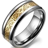 JewelryWe 8mm Comfort Fit Mens Ladies Tungsten Wedding Band Engagement Ring with Gold Celtic Dragon Inlay