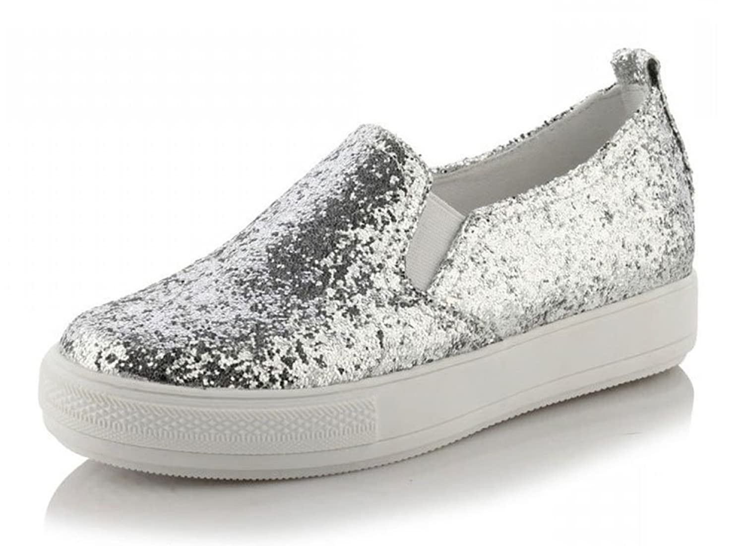 7e7d06b5cad Aisun Women s Stylish Sparkly Sequin Round Toe Thick Sole Platform Sneakers  Flats Slip On Loafers Skate Shoes