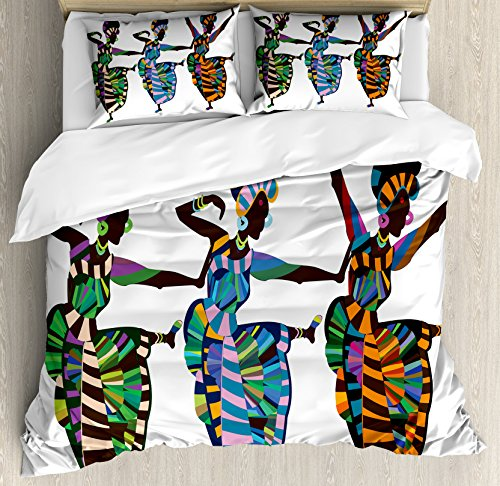 Ambesonne African Woman Queen Size Duvet Cover Set by, Religious Dance Performed by African Women in Traditional Ethnic Dresses, Decorative 3 Piece Bedding Set with 2 Pillow Shams, Multicolor by Ambesonne