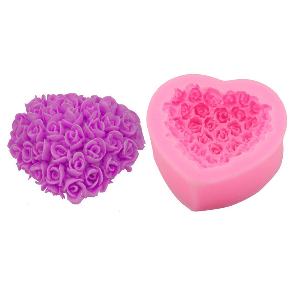 OHYESS 3D Romantic Sweet Heart Flowers Wedding Chocolate Cake Mold Muffin Pastry Icing Soap Fondant Baking Silicone Mold oh yes