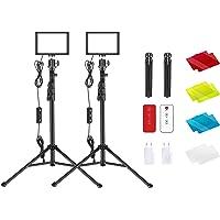 Neewer 2-pack USB LED-videolampa med 433 Hz-fjärrkontroll-set – dimbar 5 600 K fotografisk bordsbelysning med stativ…