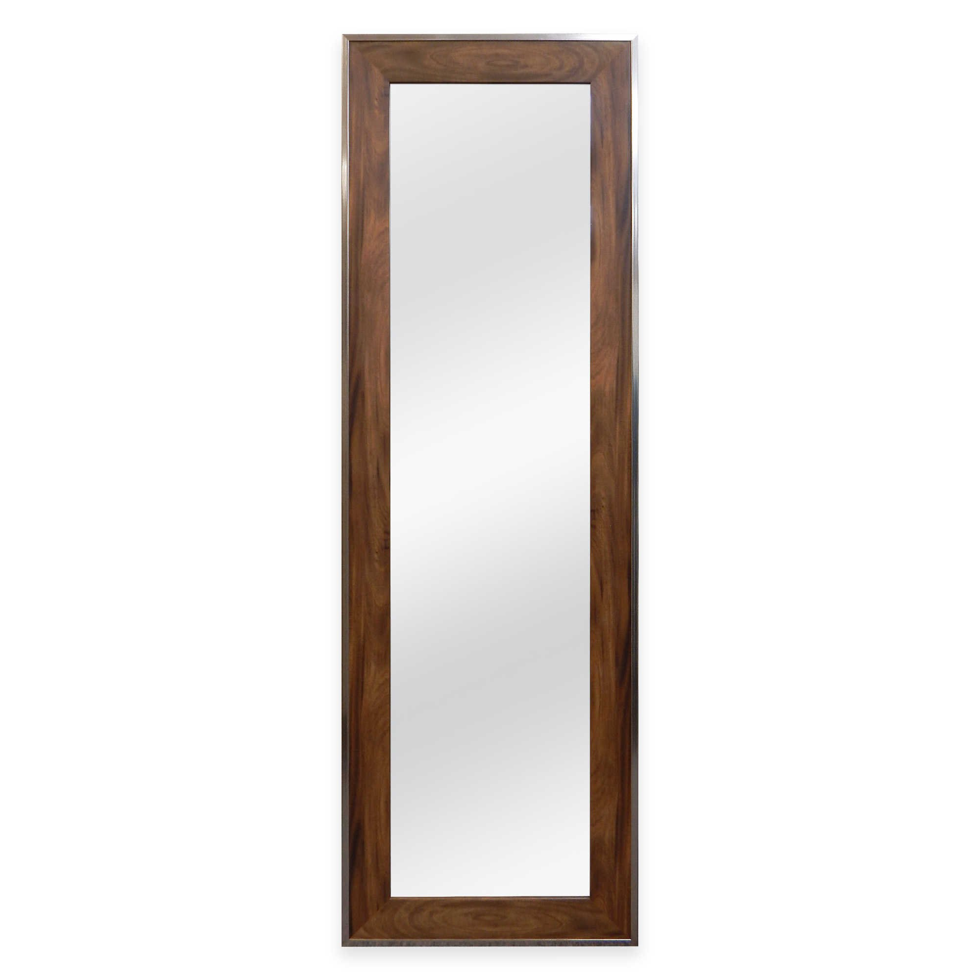 No Tools Over-the-Door 12-Inch x 48-Inch Mirror, Elegant Style in Walnut Woodgrain Finish
