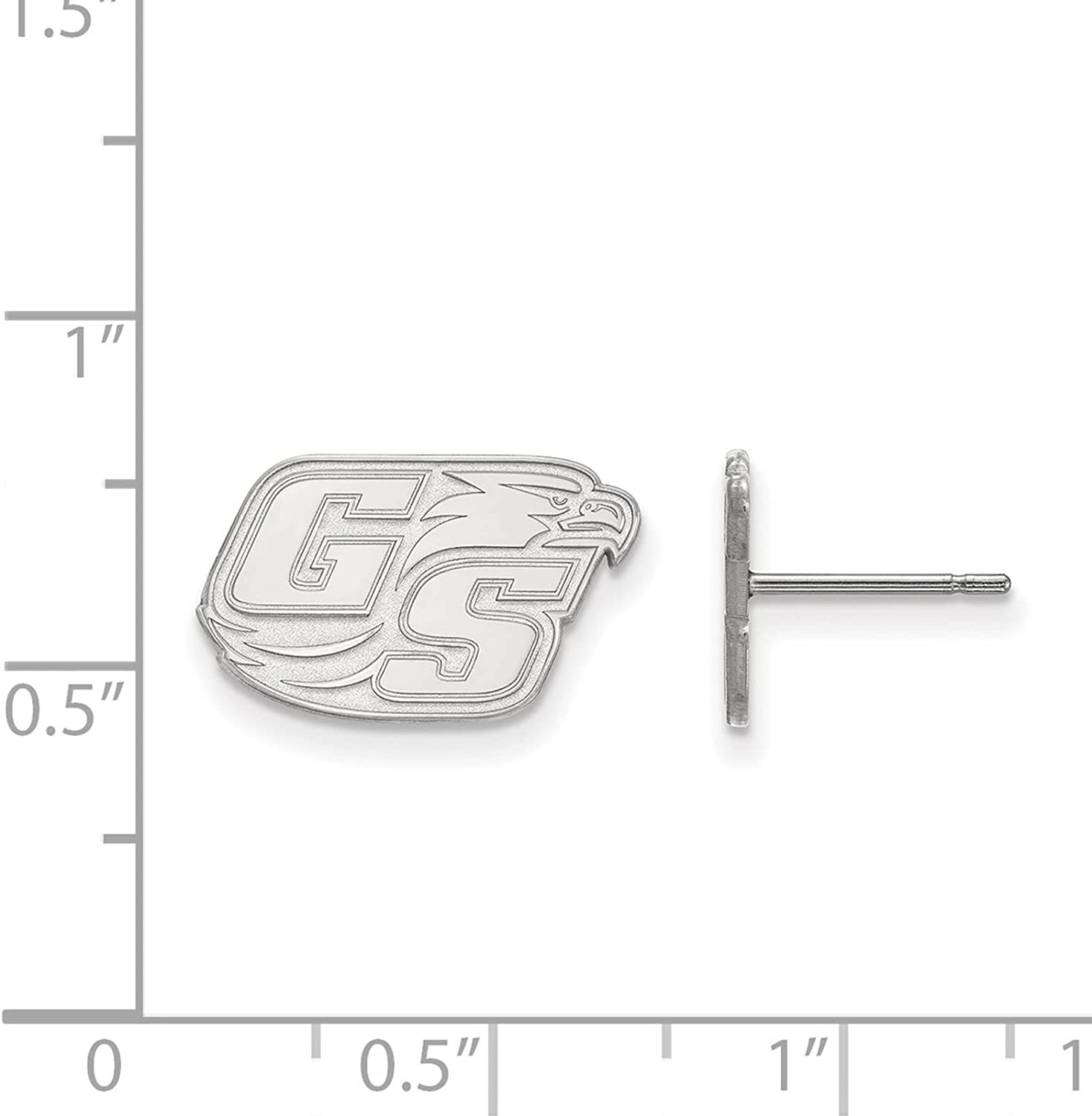 925 Sterling Silver Rhodium-plated Laser-cut Georgia Southern University Small Post Earrings