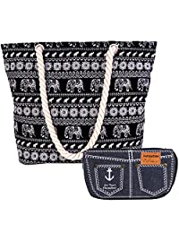 kilofly Thai Canvas Rope Handle Beach Bag Travel Shopping Shoulder Tote + Pouch