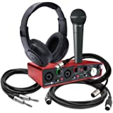 Focusrite Scarlett 2i4 (2nd Gen) USB Audio Interface bundle with Samson headphones, Behringer Microphone, and Cables