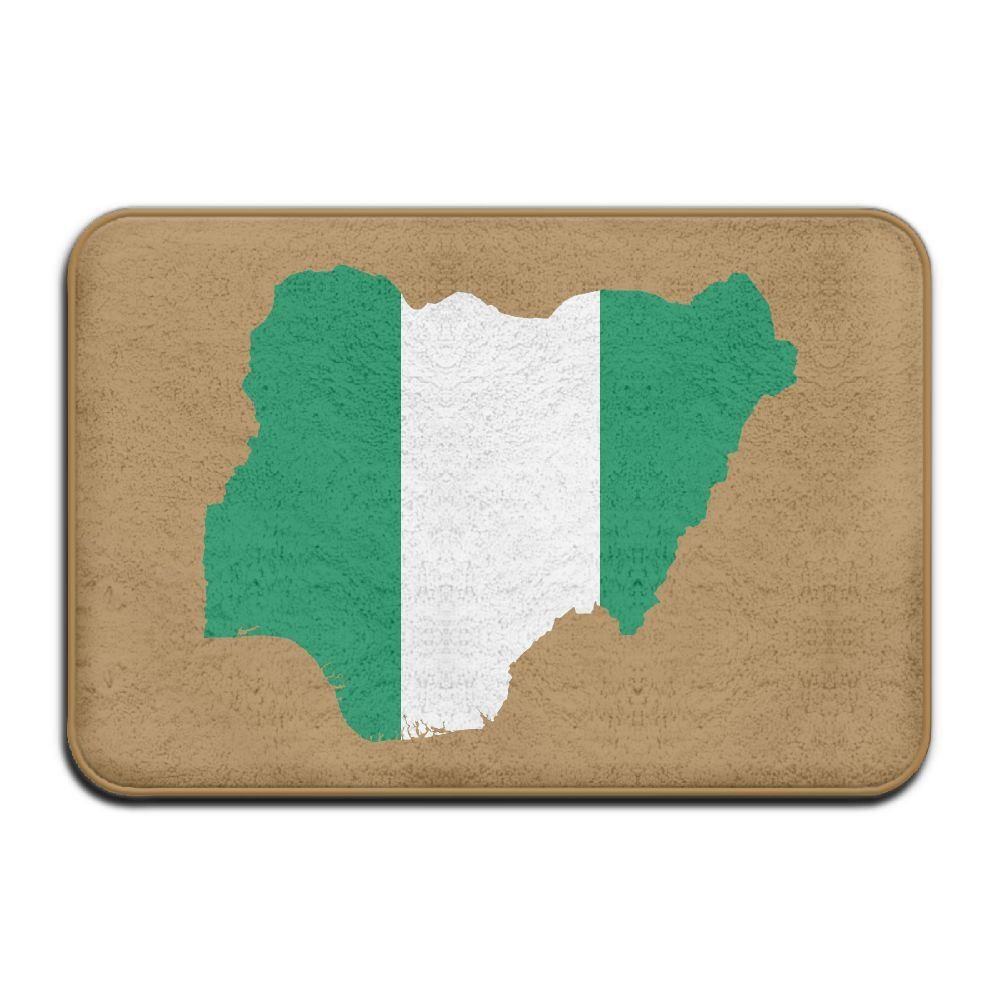 Fuucc-6 Inside & Outside Carpet Entrance Mat Nigeria Flag Map Design Pattern For Kitchen Dining by Fuucc-6