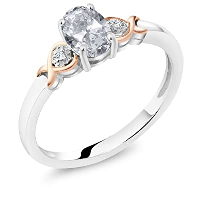 Gem Stone King 925 Sterling Silver and 10K Rose Gold Ring White Topaz with  Diamond Accent 0 95 cttw (Available 5,6,7,8,9)
