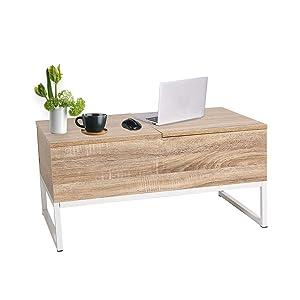 ease tavolino da caffè sollevabile con 2 Scomparti Nascosti Tavolino da caffè Funzionale con Altezza Regolabile per Ufficio, Cucina, Soggiorno