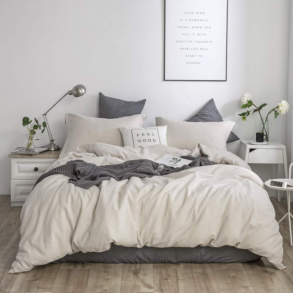 Simple&Opulence French Linen Duvet Cover Set 3PCS Solid Color Luxury Bedding Set (Queen, Linen)