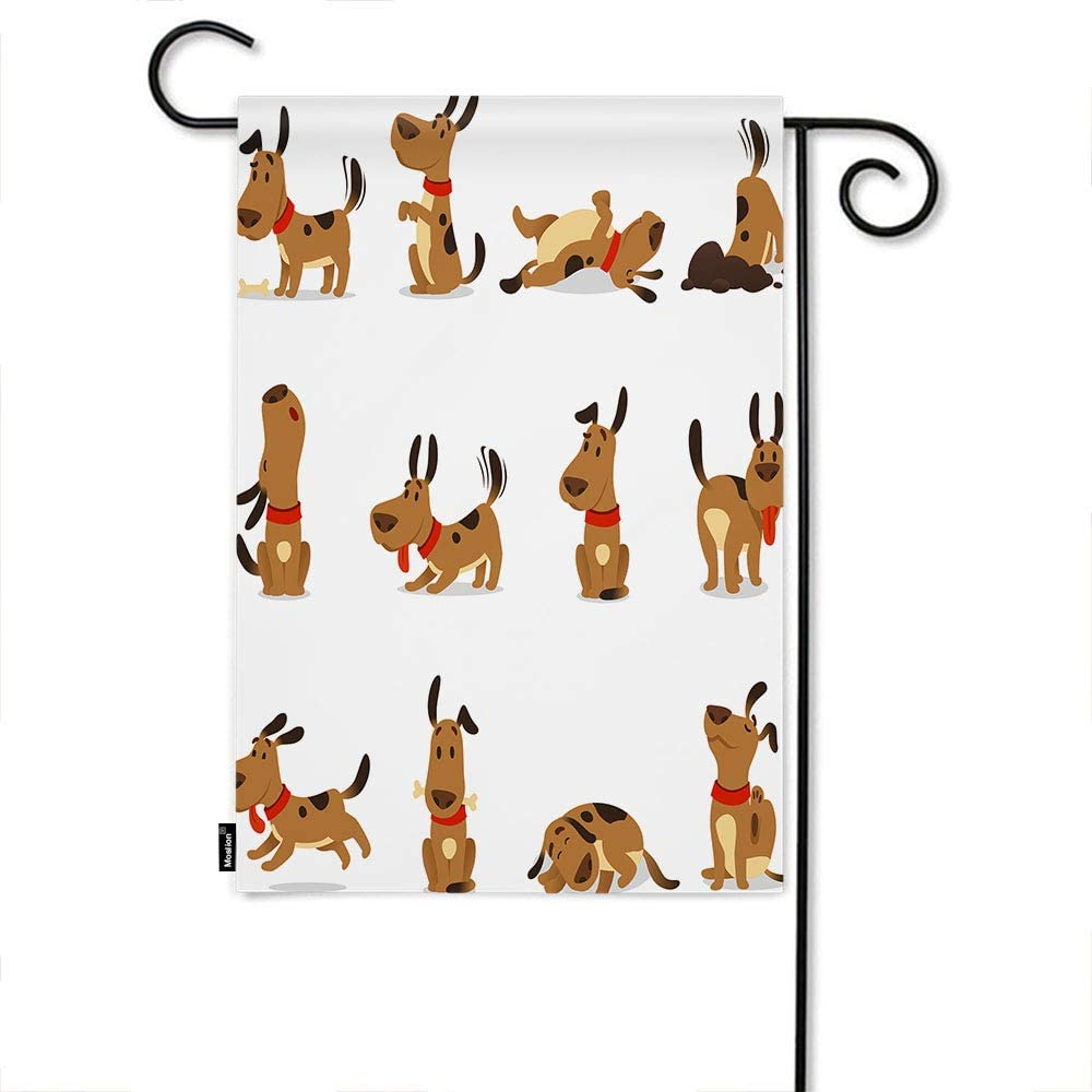Amazon Com Moslion Dog Garden Flag Cartoon Cute Animal Dogs Jumping Wiggle Sleeping Running Barking Home Flags 12x18 Inch Double Sided Banner Welcome Yard Flag Outdoor Decor Lawn Villa Garden Outdoor