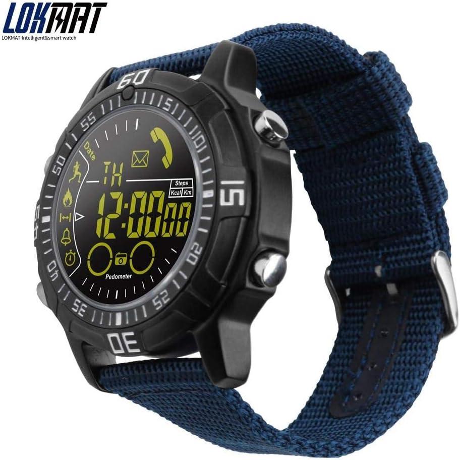 Lokmat - Reloj inteligente para hombre, para deportes al aire libre, podómetro, reloj inteligente con Bluetooth, electrónica inteligente para iOS y Android (negro)