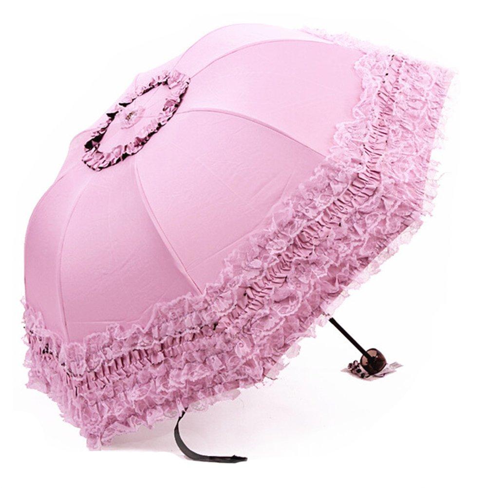 Parapluie Pliant Femme Anti-UV Dentelle Parapluies Ombrelle Parasol Umbrella Venteux Pluie en été (Blanc)