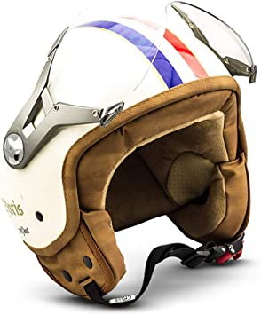 Soxon Sp 325 Paris Jet Helm Motorrad Helm Roller Helm Scooter Helm Moped Mofa Helm Chopper Retro Vespa Vintage Pilot Biker Helmet Brille Ece 22 05 Visier Schnellverschluss Tasche L 59 60cm Auto