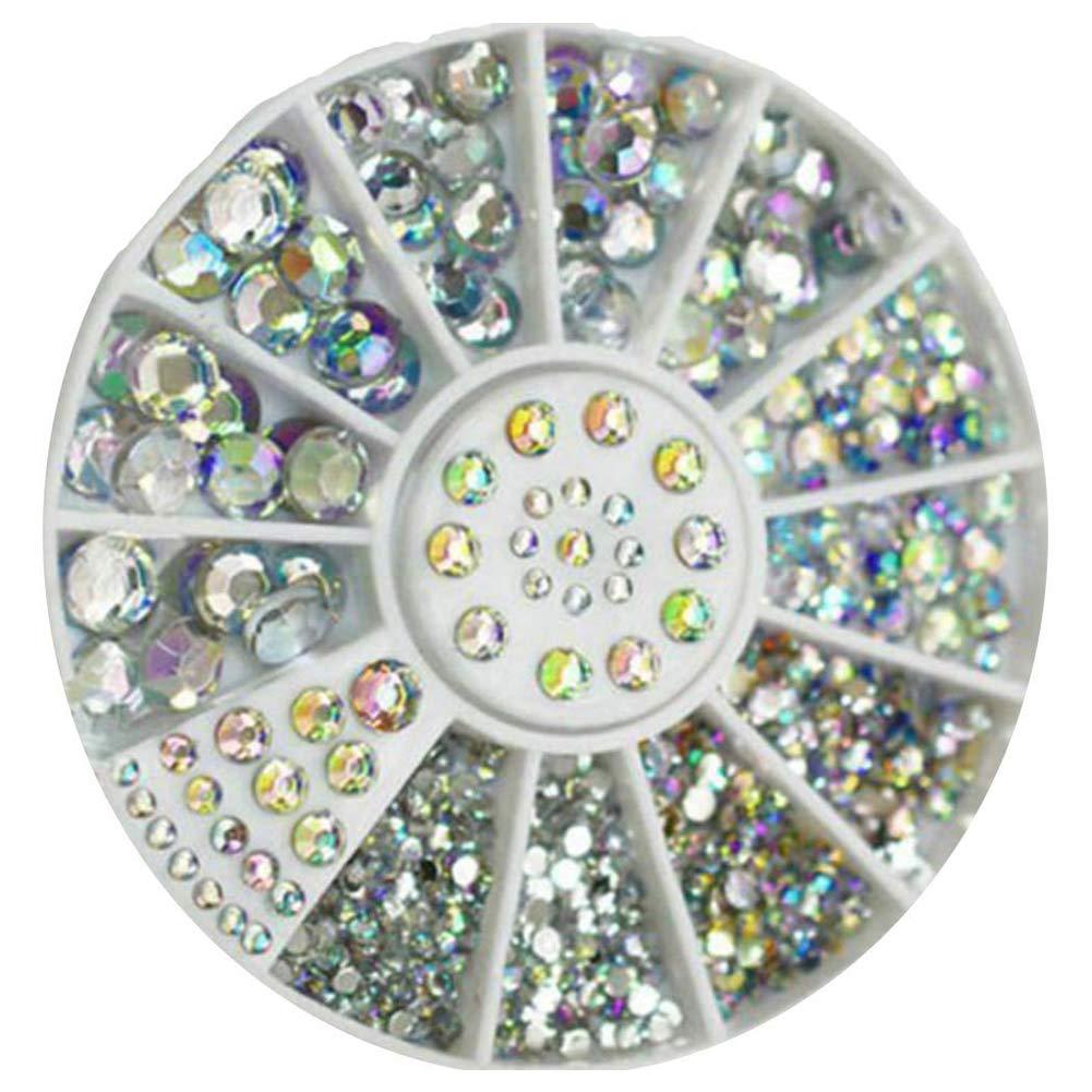 1box Nail Tips Slices 1.5 .2. 3. 4. Diamanti rotondi del chiodo del chiodo dei Rhinestones del chiodo di barretta di 5MM mxdmai