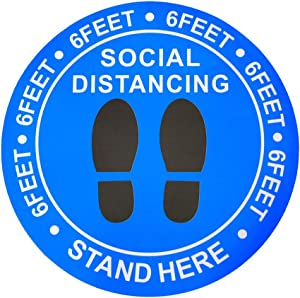 "Social Distancing Floor Decal Stickers - Maintain 6 Feet Distancing Signs, 30 Pack 8"" Safety Floor Sign Marker for Crowd Control Guidance Pharmacy, School, Restaurant, Bank(Blue)"