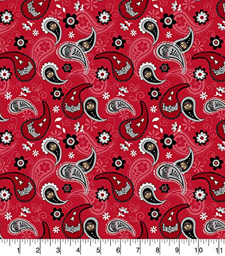 Ohio State University Cotton Fabric with Paisley Design-Newest Pattern-Ohio State Buckeyes Cotton Fabric