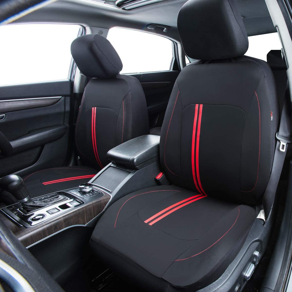CAR PASS Sporty Strip Full Set Universal Car Seat Cover Fit for Suvs,Vans,Sedans,Trucks Black with red