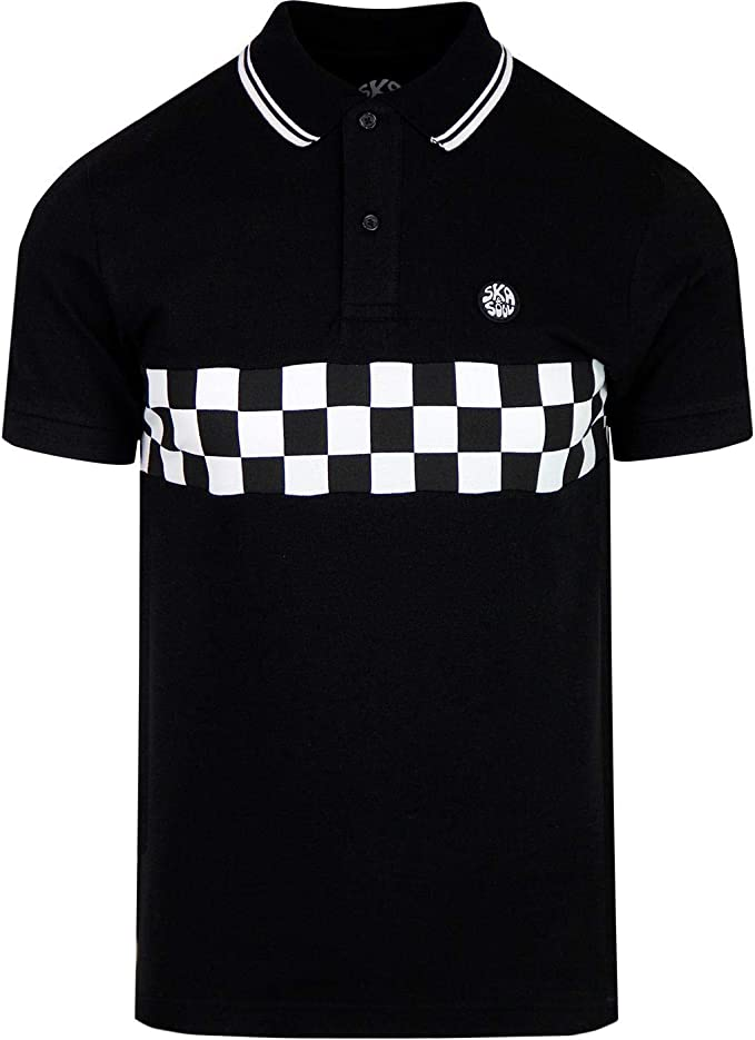 Black Mens Ska /& Soul Mod Checker board Panel Tipped Cotton Polo Shirt SS 2266