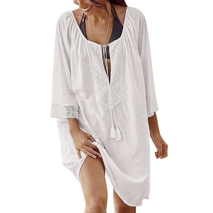 iBaste Mujer Bikini Faldas Largas Blusas de Playa Costura de Encaje Camisa de Boheme Sarong Traje