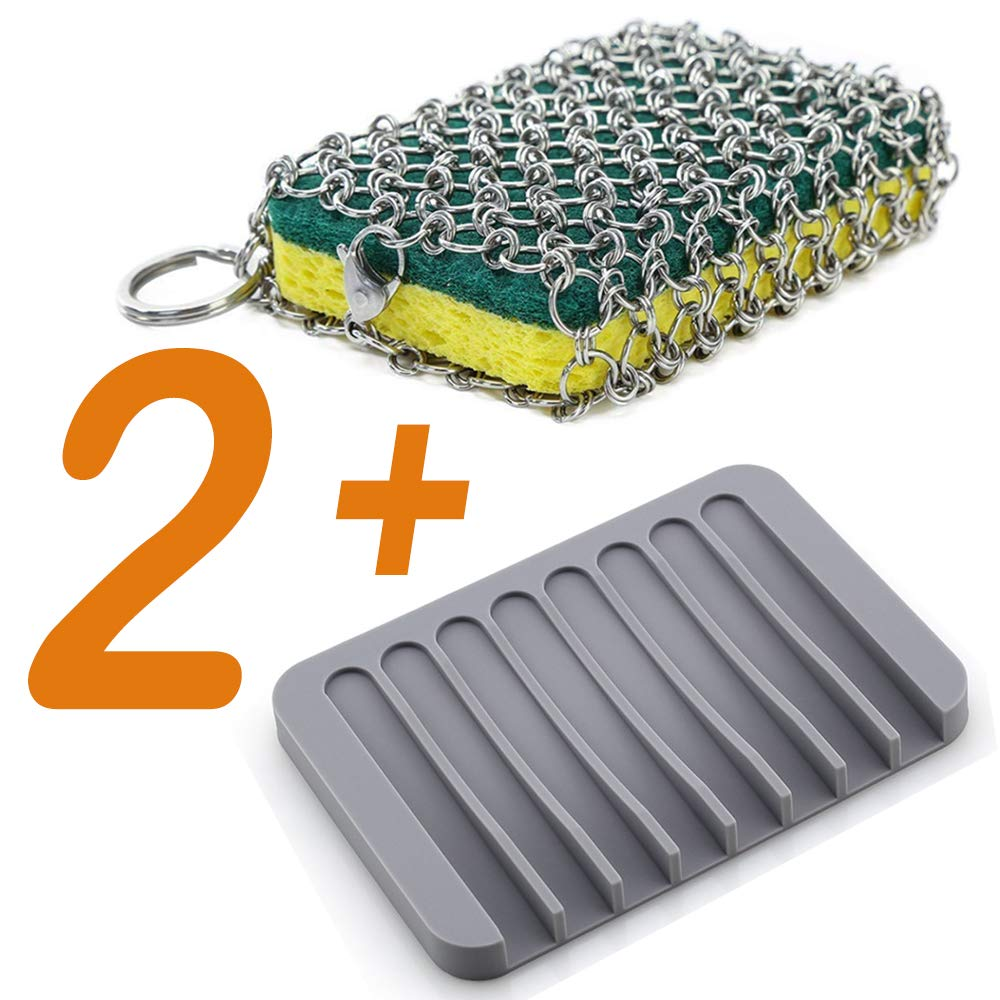 Cast Iron Cleaner Stainless Steel Skillet Chainmail Scrubber for Cast Iron Cookware & Glassware&Drainage Frame (Yellow) by Kyue