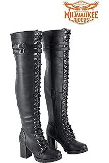 226b08221e1 Amazon.com | Milwaukee Riders Ladies Knee High Laced Boots Black ...