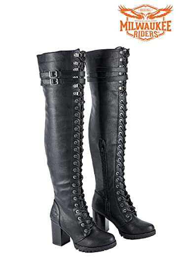 c6b96a83c27 Milwaukee Riders Ladies Knee High Laced Boots Black