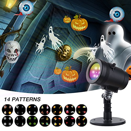 Halloween Projector Light ,YMing Waterproof  Snowflake LED Projector Lights 14 Pattern Landscape Stage Light Indoor/Outdoor Decoration for Christmas Birthday Wedding Party