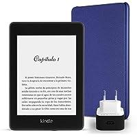 Kit Esencial Kindle Paperwhite, incluye un e-reader Kindle Paperwhite, 8 GB, wifi, con ofertas especiales, una funda Amazon de cuero en color morado y un adaptador de corriente Amazon PowerFast