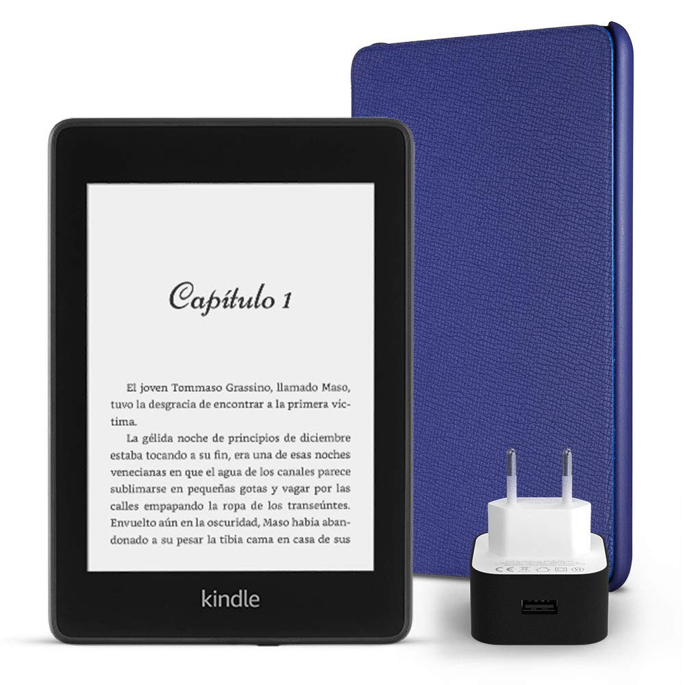 una funda  de cuero en color rojo y un adaptador de corriente  PowerFast con ofertas especiales incluye un e-reader Kindle Paperwhite 8 GB Kit Esencial Kindle Paperwhite wifi