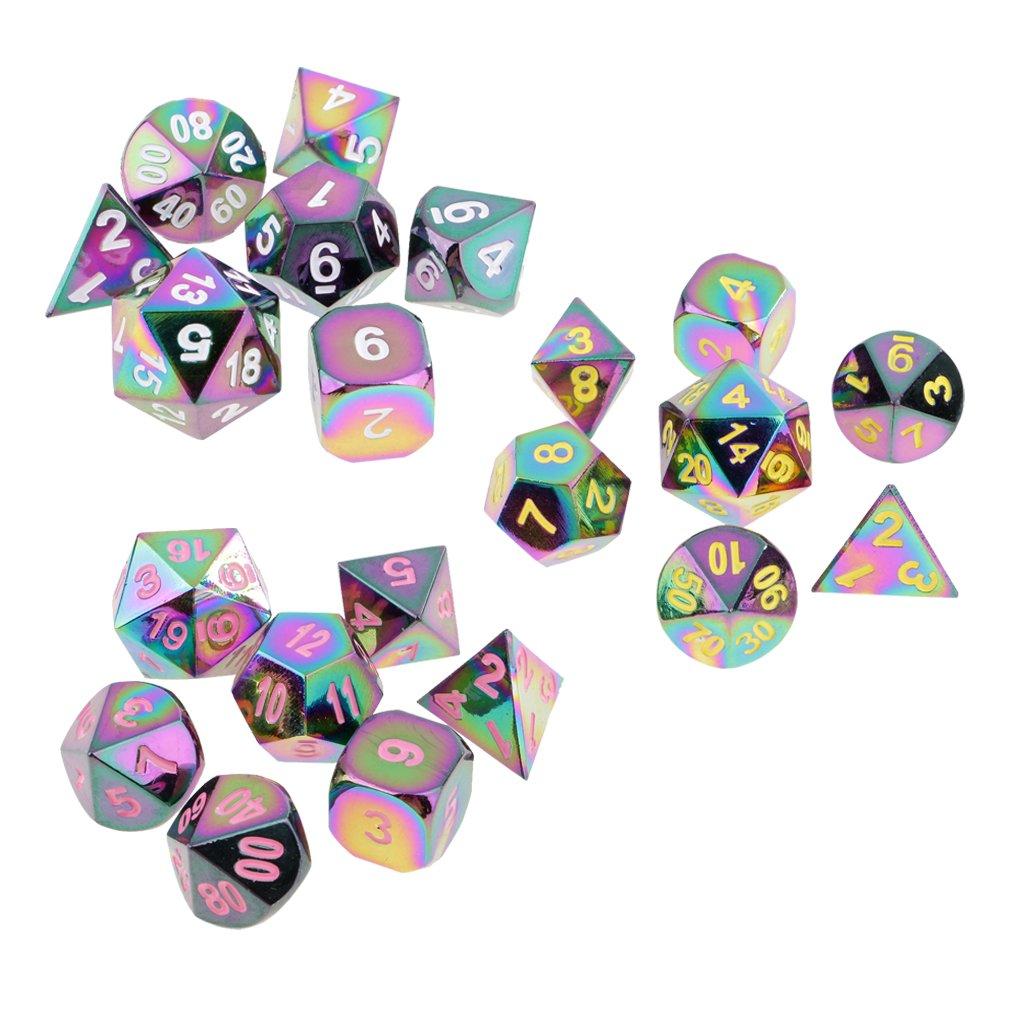 Sharplace 21pcs Polyhedral Dices Dados de Múltiples Lados Accesorio para Dungeons and Dragons MTG RPG