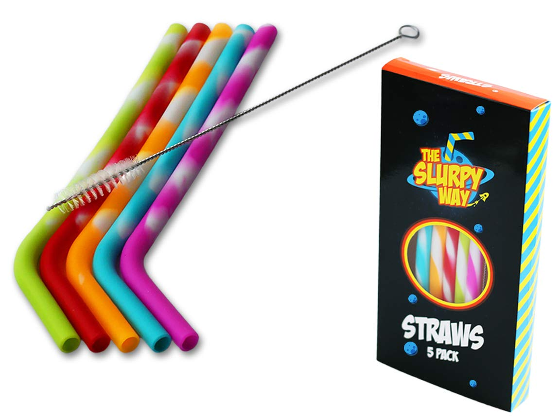 Reusable Silicone Straws Set of 5 – Colorfully Striped, Flexible Fun Silicone Drinking Straws for Kids, Parties, Tumblers – FDA Approved, BPA-Free, Eco-Friendly Portable Silly Straws by The Slurpy Way