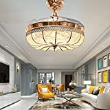 RS Lighting Ceiling Fans with Remote Control 42 inch Retractable Ceiling Fan With Chandelier Decorative Bedroom Restaurant Living Room Hotel-Gold