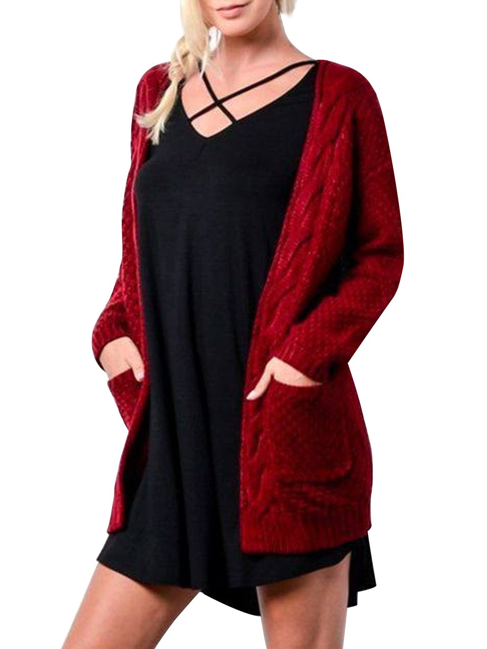 HENCY Women's Classic Open Front Long Sleeve Loose Knit Warm Cardigan Sweater with Pockets
