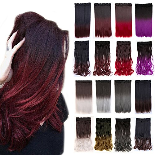 Clip in Hair Extensions Ombre Dip Dye Color Synthetic Hairpiece 2 Tone Japanese Kanekalon Fiber Full Head Thick Long Straight 1pcs 5clips for Women 25#039#039 / 25 inch Dark Brown to Plum Red