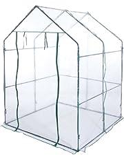 VERDELOOK Serra a casetta Senza Ripiani con Telo in PVC Trasparente, 140x140x197 cm