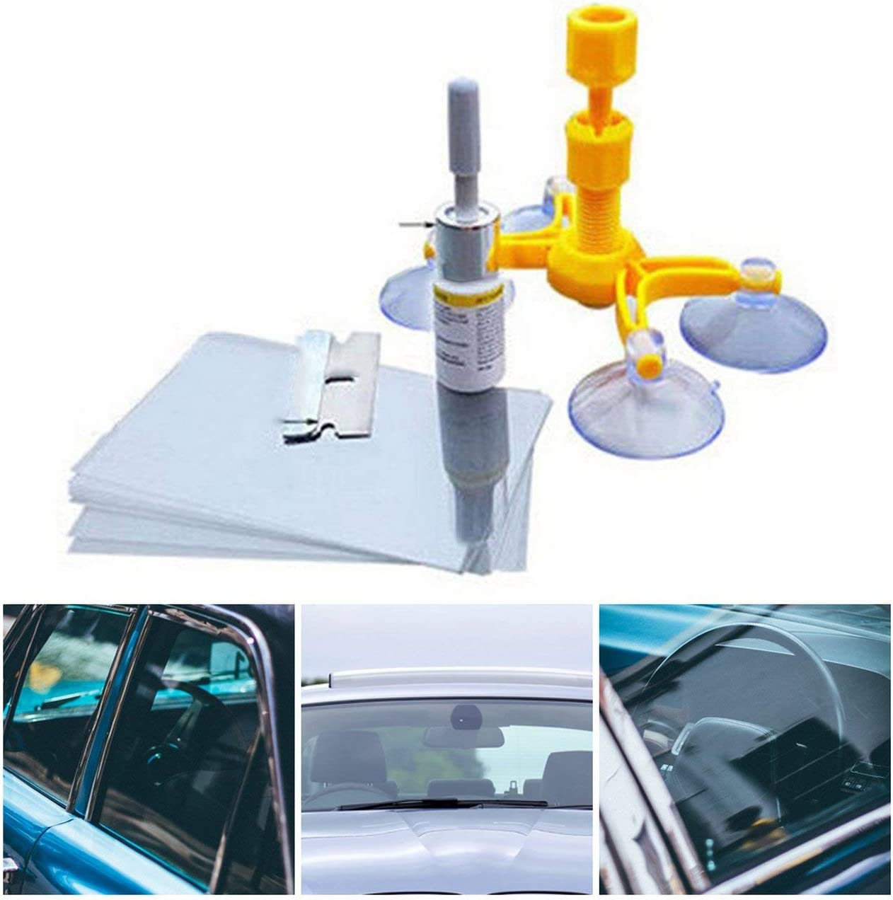 DIY Windshield Repair Kits Car Window Repair Tools Glass Scratches Restore Windscreen Cracks Polishing Repair Tool Set Orange
